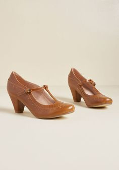 82f317e4c6e ... vintage-inspired women s shoes! Chelsea Crew Seize the Debut T-Strap  Heel in Tan in 37 by Chelsea Crew from ModCloth