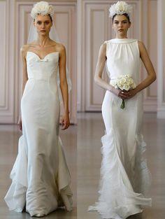 Mermaid Wedding Dresses Silk Satin With Cascade Lace Back 2016 Oscar De La Renta Bridals Scalloped Lace…