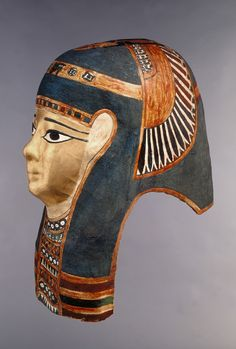 Mummy Mask                                                                                  Culture  Egyptian                      Creation date  332-30 B.C.                                                                                      Materials  linen, plaster, papyrus, pigment, gold