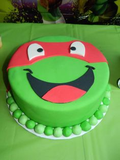 Fun cake at a Teenage Mutant Ninja Turtle birthday party!  See more party planning ideas at CatchMyParty.com!
