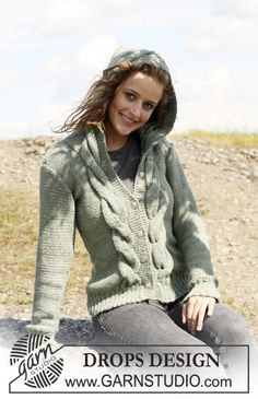 "Knitted DROPS jacket with cables and hood in 2 threads ""Alpaca"". Size S - XXXL. ~ DROPS Design"
