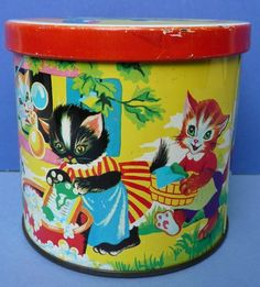 Lovely Vintage Blue Bird Cats Kittens Wash Day Toffee Tin 1960s Harry Vincent | eBay