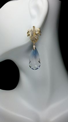 Morning Dew Golden Leaf Swarovski Earrings by KSJeweler on Etsy, $47.99