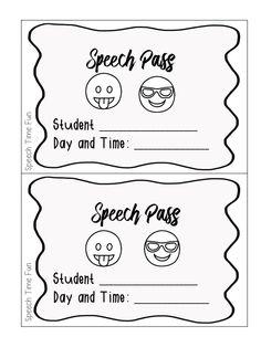 First Week of Speech Activities - Speech Time Fun