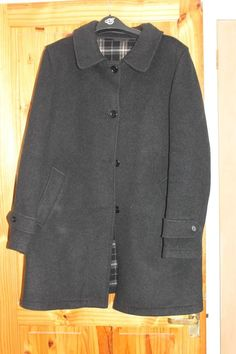 Twcx Men Waterfall Collar Winter Wool-Blend Belted Double-Breasted Jacket Overcoat