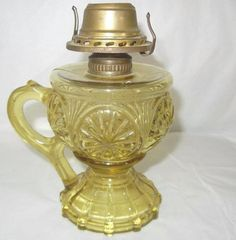"5 3/4"" ANTIQUE AMBER GLASS FINGER HOLD OIL LAMP PATTERN GLASS EXCELLENT | eBay"