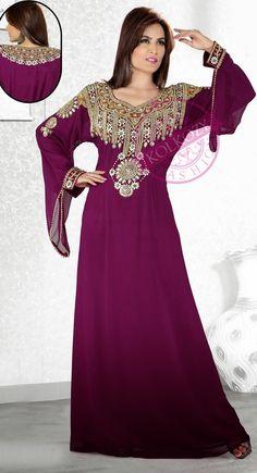Tyrian Purple Popular Bell Sleeve Slim Fit #Kaftan