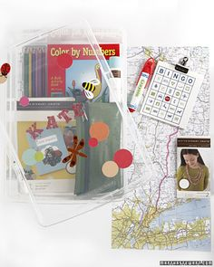 Alter it for our Disney trip.So smart - a kids travel kit or road trip kit with games, crafts and great ideas! Summer Activities For Kids, Travel Activities, Fun Activities, Kits For Kids, Projects For Kids, Crafts For Kids, Craft Projects, Road Trip With Kids, Travel With Kids