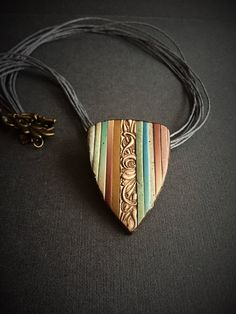 boho pendant light polymer clay jewelry gift for her by ClayLeatherJewellry on Etsy