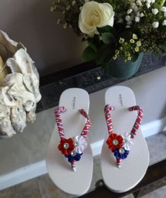 Patriotic Flip Flops USA Military Red White and Blue Old Navy Size  7/8 ~ by OneCreativeMiMi on Etsy