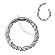 These great Twisted Clicker Segment Rings are fabulous pieces of body piercing jewellery that look fantastic and are really easy to fit into your piercings. There are no removable balls or segments on these clicker rings, the segment is attached to one side of the ring with a clever hinge mechanism so that it simply 'clicks' in and out of the ring making fitting a lot less fiddly.   The funky twisted design is actually casted onto the ring so that the design completely encircles your…
