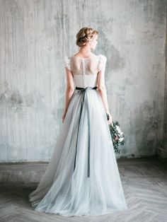 Neva - romantic grey wedding dress / http://www.deerpearlflowers.com/non-white-colorful-wedding-dresses-from-etsy/2/