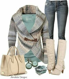 I like the boots and the bag I don't care for the color or the style of the sweater