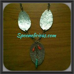 Spoon necklace with turquoise and coral captures made by Spoonelicious Flatwear. Spoonelicious.com