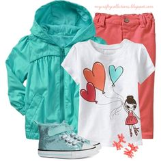 Toddler Girl's Outfit: Mint & Coral, created by angiejane on Polyvore