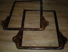 """Pair of LARGE Matching Antique Wooden Picture Frames, 37"""" x 37"""", Portrait Frames. Very unusual designs, lovely patena"""