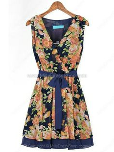 Blue Sleeveless Floral Bandeau Belt Pleated Dress