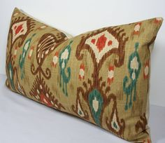 Decorative Pillow Cover Robert Allen 14 x 24 IKAT by WilmaLong