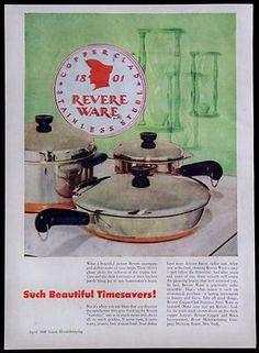 1948 Revere Ware Cookware Magazine Ad Skillet Pots Pans