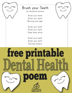 FREE printable dental health month poem for preschool, kindergarten, and first grade.  Great for any time, really... Self-care skills are always needed !