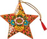 Black Floral Star Ornament