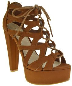 Clarice 22V Peep Toe High Heel Lace Up Strappy Pumps Tan >>> Trust me, this is great! Click the image. : Gladiator sandals