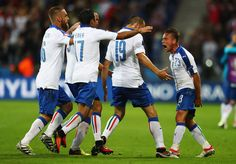 Emanuele #Giaccherini (1st R) of Italy celebrates scoring his team's first goal with his team matesduring the UEFA EURO 2016 Group E match between Belgium and Italy at Stade des Lumieres on June 13, 2016 in Lyon, France.