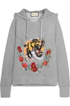Gucci - Embroidered Embellished Cotton-jersey Hooded Top - Gray -