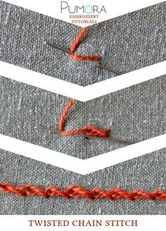 Pumoras embroidery stitch lexicon: twisted chain stitch tutorial