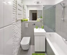 small and simple bathroom, grey and white . Bathroom Layout, Small Bathroom, Master Bathroom, Bathroom Grey, Scandinavian Bathroom Design Ideas, Bad Inspiration, 5 W, Prefab Homes, Corner Bathtub
