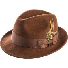 95c033f77df Montique Men s Brown Crushable Snap Brim Fedora Felt Hat