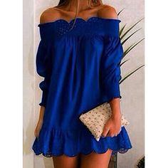 Stylish Slash Collar Long Sleeve Solid Color Laciness Women's Dress