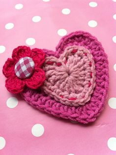 Heart Brooch / Pretty in Pink Crocheted Heart Brooch.
