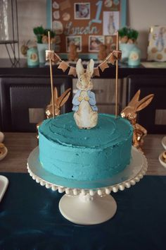 Peter rabbit cake. Orange and poppyseed with blue Wilton sky blue buttercream icing (three layer cake)