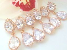 Rose Gold Bridesmaid Earrings Set Of 5 Off- Will You Be My Bridesmaid Gift - Rose Gold Wedding Jewelry- Gold Crystal Wedding Earrings Rose Gold Bridesmaid, Bridesmaid Earrings, Wedding Earrings, Bridesmaids, Rose Gold Wedding Jewelry, Crystal Wedding, Art Deco Jewelry, Jewelry Design, Gifts For Wedding Party