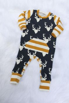 Baby Boy Romper / Deer Romper / One Piece / Bodysuit / Rompaloons / Cloth Diaper / Toddler / Coming Home Outfit / Baby Boy Outfit / Trendy  via @deuxpardeuxKIDS