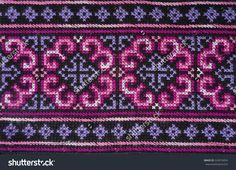 Pink and purple handmade Thai traditional Hmong fabric, Thai Thai traditional ethical pattern Embroidery Neck Designs, Creative Embroidery, Hand Embroidery Stitches, Beaded Embroidery, Cross Stitch Embroidery, Embroidery Patterns, Cross Stitch Designs, Cross Stitch Patterns, Cross Stitch Geometric