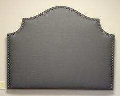 Custom made upholstered 'Cavendish' Headboard with hand applied decorative nails in brass - DELUXE Series