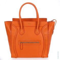 Сумка Celine модели Luggage оранжевого цвета из натуральной кожи