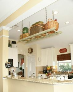 Small kitchen organizing ideas suspended ladder storage click hngende holzleiter solutioingenieria Choice Image