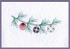 Christmas Bauble Branch & Dove Prick 'n Stitch Cards