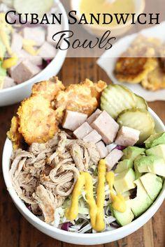 Cuban Sandwich Bowls w/ Slow Cooker Mojo Pulled Pork