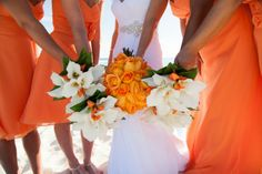 Gran Caribe Real Resort Destination Wedding with Orange Accents Beach Wedding Reception, Beach Wedding Flowers, Wedding Reception Decorations, Wedding Colors, Destination Wedding, Wedding Tables, Beach Weddings, Wedding Advice, Wedding Pics