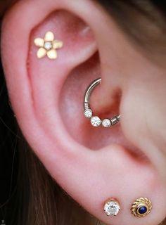 Cute Multiple Ear Piercing Ideas - Serenity Crystal Daith Piercing Jewelry at MyBodiArt.com - Gold Flower Constellation Cartilage Pinna Stud