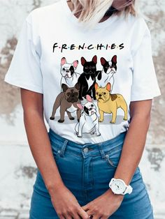 2018 Fashion French Bulldog Printed T-Shirt women Dogs Animal T Shirt Summer High Quality Hipster Tee Tops Dog Mom Shirt, Mom Shirts, T Shirts For Women, Dog T Shirts, Girl T Shirt, Girls White Shirt, French Bulldog Blue, French Bulldogs, French Bulldog Clothes