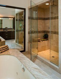Contemporary Master Bathroom with frameless showerdoor, Step in shower, Glass tile detail, Undermount sink, Master bathroom