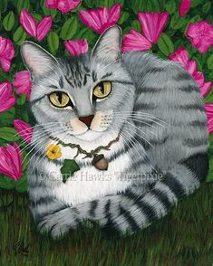 Garden Cat -silver tabby cat, azalea flowers, garden, summer, cute. Prints & Gift Items featuring this image are available on my website.© Carrie Hawks, Tigerpixie Art Studio, Fantasy Cat Art http://Tigerpixie.com