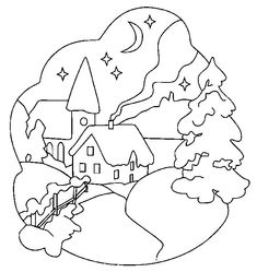 Houses and Homes color page. Family coloring pages, People and Jobs coloring pages. Coloring pages for kids. Thousands of free printable coloring pages for kids! Coloring Pages Winter, Christmas Coloring Pages, Coloring Book Pages, Printable Coloring Pages, Coloring Pages For Kids, Christmas Colors, Christmas Art, Christmas Patterns, Christmas Landscape