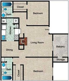 Crestview Floor Plan at The Copper Hill Apartments in Bedford, TX
