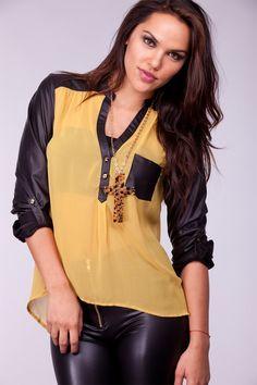 86e389051a973 MUSTARD SHEER CHIFFON LEATHERETTE LONG SLEEVE BLOUSE TOP to wear with  leather leggings